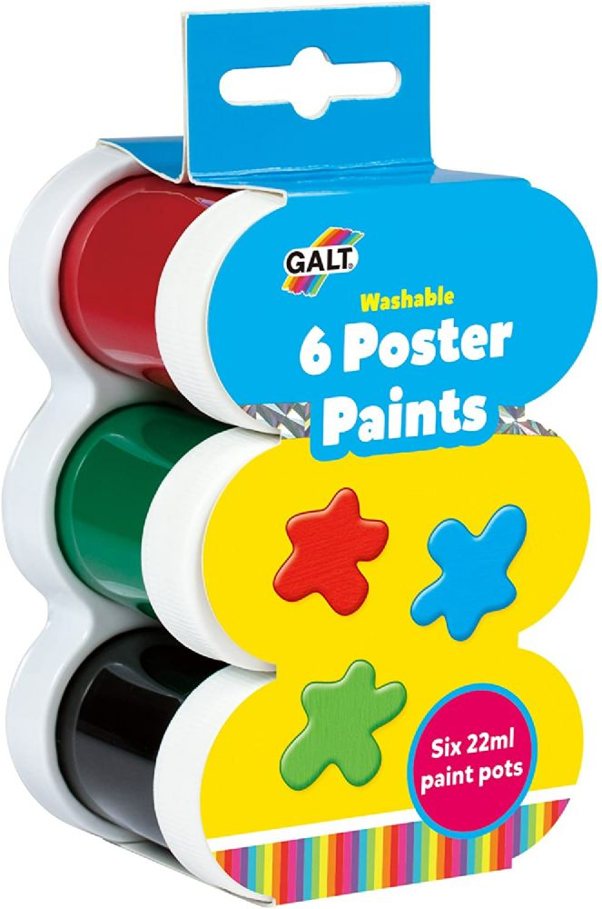 Galt Toys Washable Poster Paints - 6 Pieces